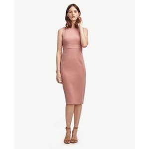 Ann Taylor double weave sheath dress blush pink 6